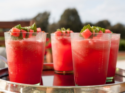 Kid Friendly Watermelon Spritzers, ready to drink, as prepared by host Valerie Bertinelli on Valerie's Home Cooking.
